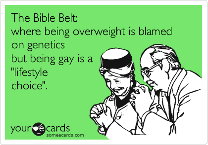 "The Bible Belt:  where being overweight is blamed  on genetics  but being gay is a  ""lifestyle choice""."