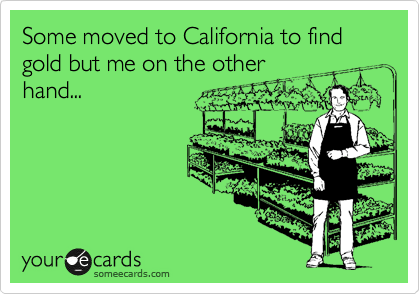 Some moved to California to find gold but me on the other hand...