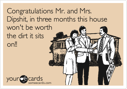 Congratulations Mr. and Mrs. Dipshit, in three months this house won't be worth the dirt it sits on!!