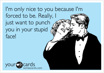 I'm only nice to you because I'm forced to be. Really, I just want to punch you in your stupid face!