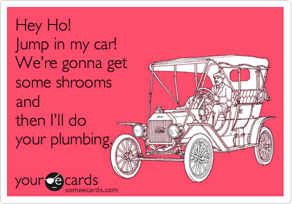 Hey Ho! Jump in my car! We're gonna get some shrooms and then I'll do your plumbing.