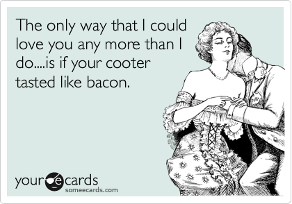 The only way that I could love you any more than I do....is if your cooter tasted like bacon.