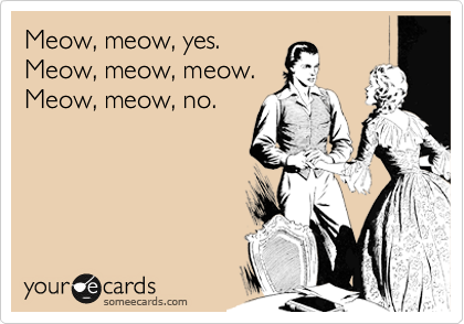 Meow, meow, yes. Meow, meow, meow. Meow, meow, no.