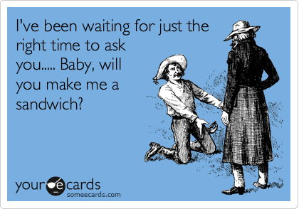I've been waiting for just the right time to ask you..... Baby, will you make me a sandwich?