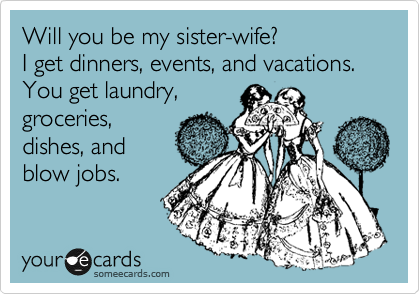 Will you be my sister-wife? I get dinners, events, and vacations. You get laundry, groceries, dishes, and blow jobs.