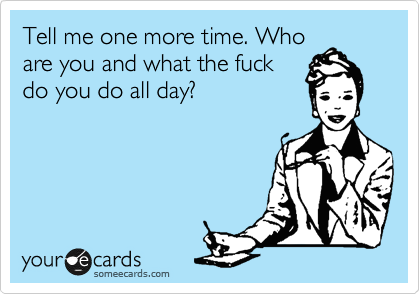 Tell me one more time. Who are you and what the fuck do you do all day?