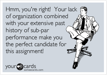 Hmm, you're right!  Your lack of organization combined with your extensive past history of sub-par performance make you the perfect candidate for this assignment!