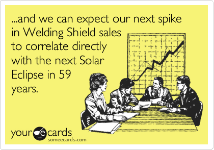 ...and we can expect our next spike in Welding Shield sales to correlate directly with the next Solar  Eclipse in 59 years.