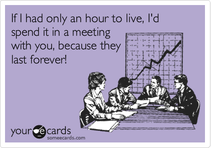 If I had only an hour to live, I'd spend it in a meeting with you, because they  last forever!