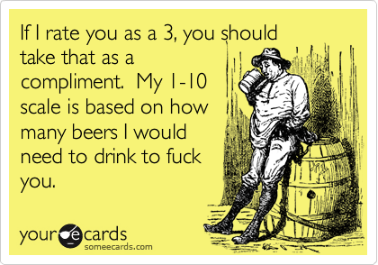 If I rate you as a 3, you should take that as a compliment.  My 1-10 scale is based on how many beers I would need to drink to fuck you.