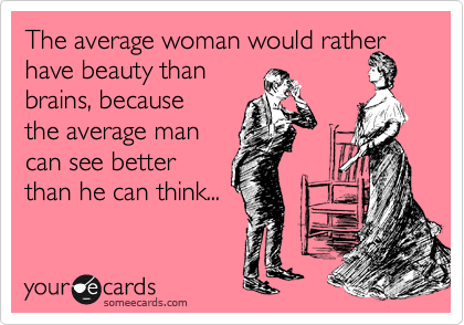 The average woman would rather have beauty than  brains, because the average man  can see better than he can think...