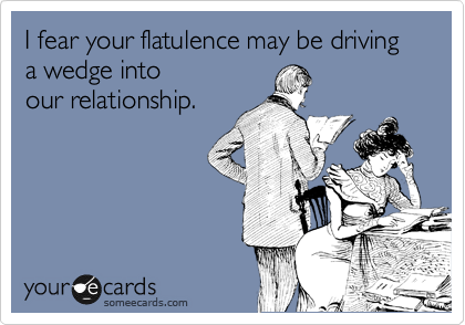 I fear your flatulence may be driving a wedge into our relationship.