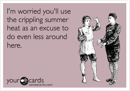 I'm worried you'll use the crippling summer heat as an excuse to do even less around here.