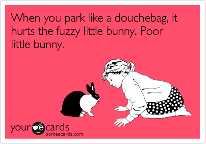 When you park like a douchebag, it hurts the fuzzy little bunny. Poor little bunny.