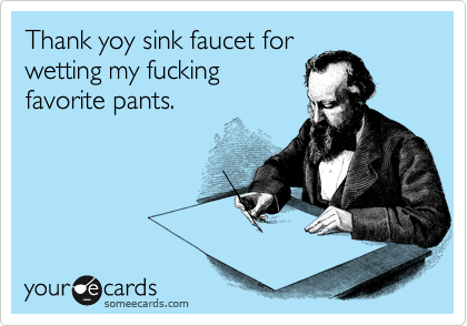 Thank yoy sink faucet for wetting my fucking favorite pants.