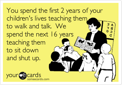 You spend the first 2 years of your children's lives teaching them to walk and talk.  We spend the next 16 years teaching them to sit down and shut up.