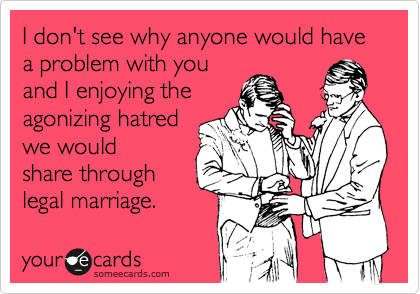 I don't see why anyone would have a problem with you and I enjoying the agonizing hatred we would share through legal marriage.