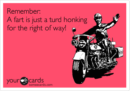 Remember:  A fart is just a turd honking for the right of way!