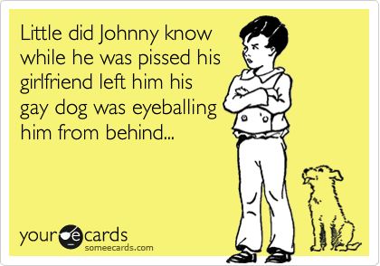 Little did Johnny know while he was pissed his girlfriend left him his gay dog was eyeballing him from behind...