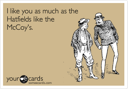 I like you as much as the Hatfields like the McCoy's.