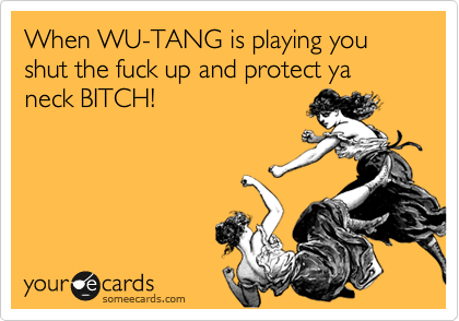 When WU-TANG is playing you shut the fuck up and protect ya neck BITCH!