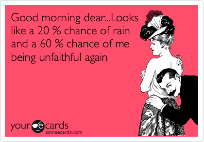 Good morning dear...Looks like a 20 % chance of rain and a 60 % chance of me being unfaithful again