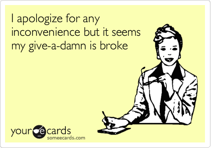 I apologize for any inconvenience but it seems my give-a-damn is broke