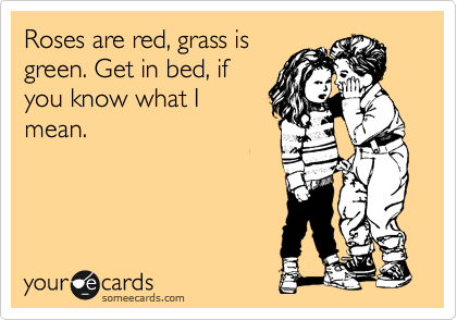 Roses are red, grass is green. Get in bed, if you know what I mean.