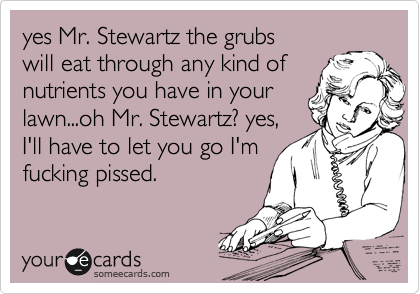 yes Mr. Stewartz the grubs will eat through any kind of  nutrients you have in your lawn...oh Mr. Stewartz? yes, I'll have to let you go I'm fucking pissed.
