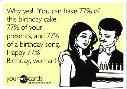 Why yes!  You can have 77% of this birthday cake, 77% of your presents, and 77% of a birthday song.  Happy 77% Birthday, woman!