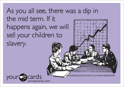 As you all see, there was a dip in the mid term. If it happens again, we will  sell your children to  slavery.