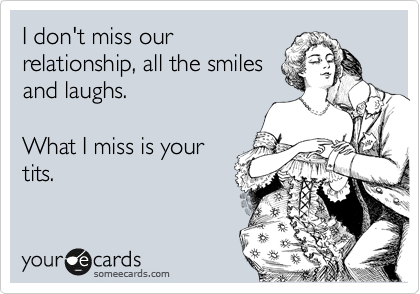 I don't miss our relationship, all the smiles and laughs.  What I miss is your tits.