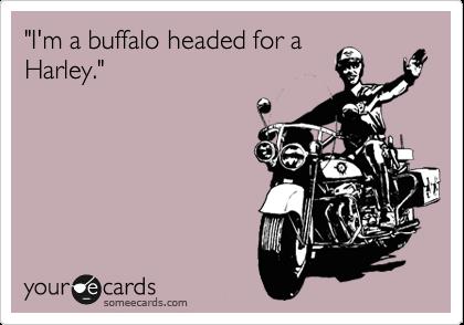 """""""I'm a buffalo headed for a Harley."""""""