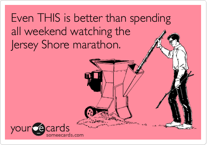 Even THIS is better than spending all weekend watching the Jersey Shore marathon.