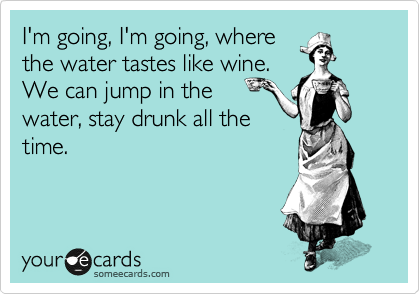 I'm going, I'm going, where the water tastes like wine.  We can jump in the water, stay drunk all the time.