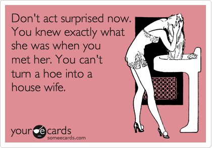 Don't act surprised now. You knew exactly what she was when you met her. You can't turn a hoe into a house wife.