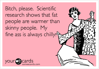 Bitch, please.  Scientific  research shows that fat people are warmer than skinny people.  My fine ass is always chilly.