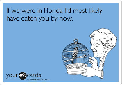 If we were in Florida I'd most likely have eaten you by now.