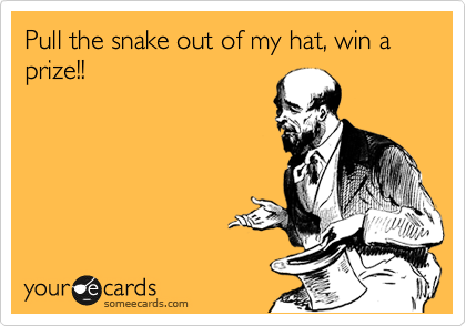 Pull the snake out of my hat, win a prize!!