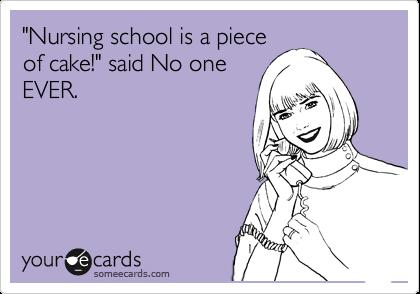 """""""Nursing school is a piece of cake!"""" said No one EVER."""