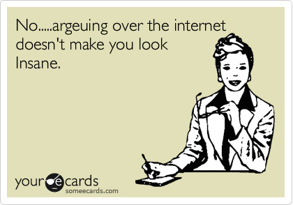 No.....argeuing over the internet doesn't make you look Insane.