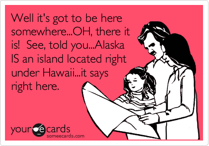 Well it's got to be here somewhere...OH, there it is!  See, told you...Alaska IS an island located right under Hawaii...it says right here.