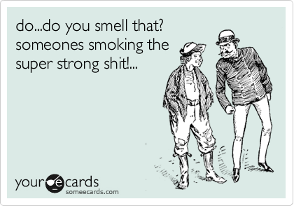 do...do you smell that? someones smoking the super strong shit!...