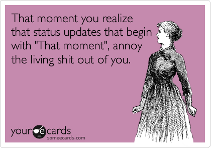 """That moment you realize that status updates that begin with """"That moment"""", annoy the living shit out of you."""