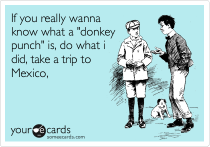 """If you really wanna know what a """"donkey punch"""" is, do what i did, take a trip to Mexico,"""