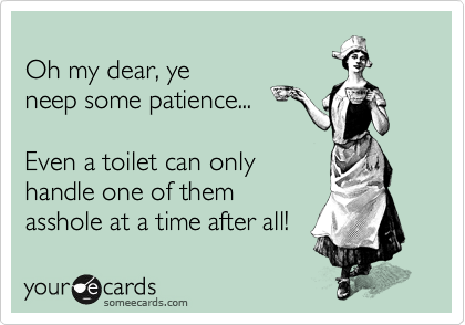 Oh my dear, ye neep some patience...  Even a toilet can only handle one of them asshole at a time after all!
