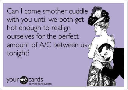 Can I come smother cuddle with you until we both get hot enough to realign ourselves for the perfect amount of A/C between us tonight?