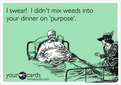 I swear!  I didn't mix weeds into your dinner on 'purpose'.
