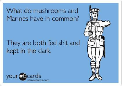 What do mushrooms and Marines have in common?        They are both fed shit and  kept in the dark.