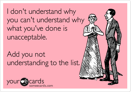 I don't understand why you can't understand why what you've done is unacceptable.     Add you not  understanding to the list.